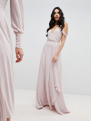 TFNC Cold Shoulder Wrap Maxi Bridesmaid Dress With Fishtail - Mink