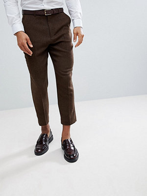 ASOS Tapered Smart Trousers In Rich Brown Wool Mix Texture