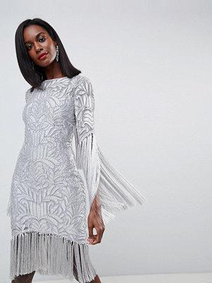 ASOS Edition All Over Embellished Fringe Dress With Cut Out Back