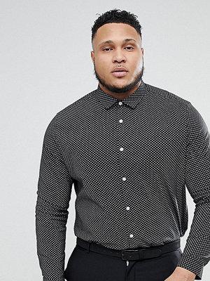 ASOS PLUS Smart Stretch Slim Ditsy Print Shirt