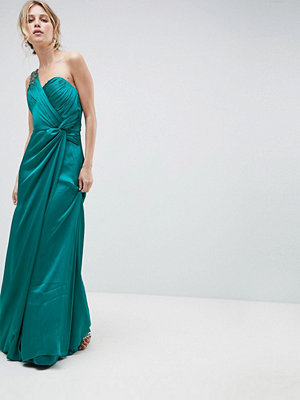 Little Mistress One Shoulder Maxi Dress With Ruched Detail - Jade