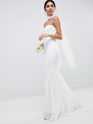 City Goddess Wedding Bandeau Seqin & Chiffon Fishtail Maxi Dress