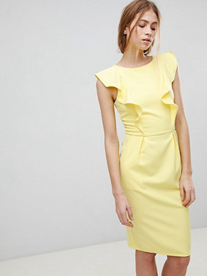 Paper Dolls Pencil Dress With Frill And Belt Detail - Lemon