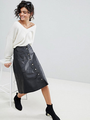 Selected A-Line Button Through Leather Skirt
