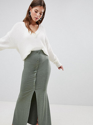 ASOS DESIGN maxi skirt with button front and split detail in khaki marl