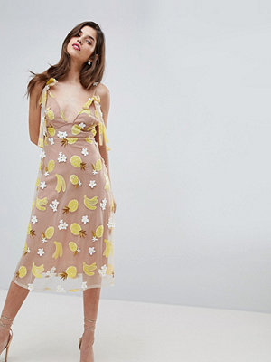 For Love & Lemons Fruit Punch Sequin Midi Dress - Pineapple