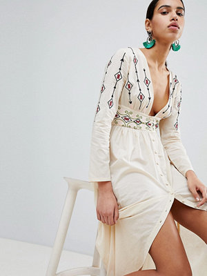 Boohoo Embroidered Button Detail Maxi Dress