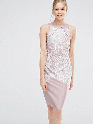 Closet London Closet Lace Print Bodycon Dress - Nude/cream
