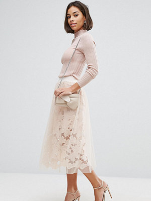 ASOS Petite Lace Prom Skirt with Tulle Overlay