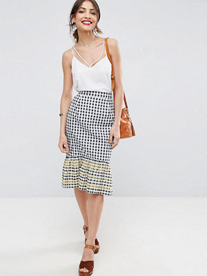 ASOS Gingham Midi Skirt with Embroidered Hem