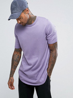 ASOS Longline T-Shirt with Curved Hem in Lilac