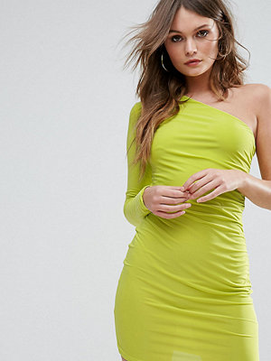 Club L One Shoulder Slinky Mini Dress - Lime
