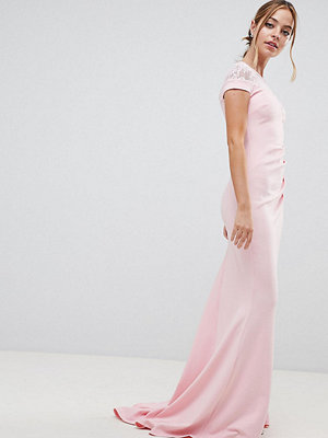 City Goddess Petite Fishtail Maxi Dress With Lace Detail - Pink (29)