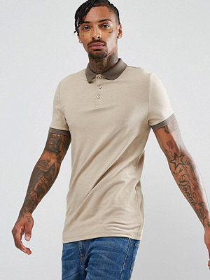 ASOS Muscle Fit Polo With Contrast Collar And Cuff In Beige - Barley marl/ mudston