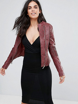 Pussycat London Faux Leather Laser Cut Biker Jacket
