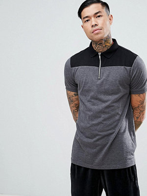 ASOS DESIGN contrast panel polo with zip neck in grey - Char marl/ blk