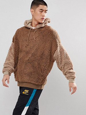 Street & luvtröjor - ASOS Oversized Slouch Hoodie In Borg With Contrast Sleeves