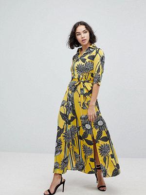 Liquorish Sunflower Print Shirt Maxi Dress