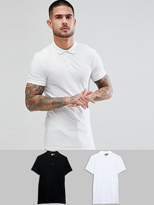 ASOS DESIGN muscle fit jersey polo 2 pack save - Black/white