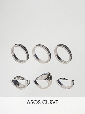 ASOS Curve Exclusive Pack of 6 Engraved Ring Pack - Rhodium