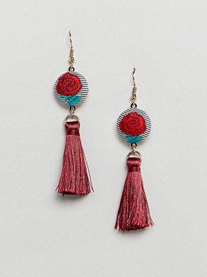 ASOS örhängen DESIGN Embroidered Disc And Tassel Earrings