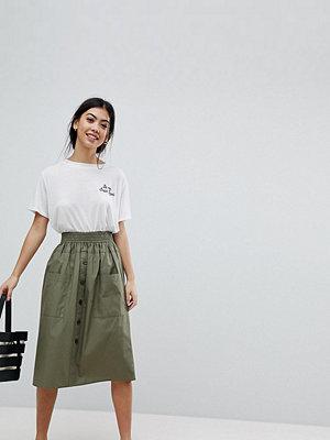 ASOS Petite ASOS DESIGN Petite cotton midi skirt with button front - Khaki