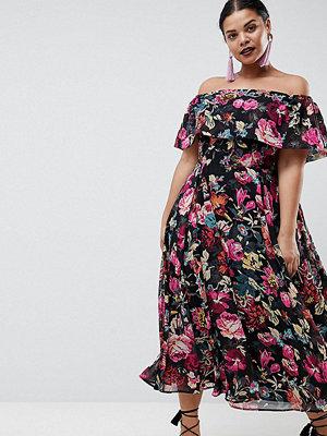 ASOS Curve ASOS DESIGN Curve bardot midi dress in floral print