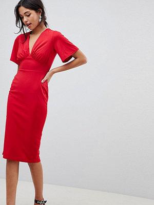 ASOS DESIGN crepe tea dress with flutter sleeve