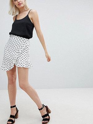 Emory Park Wrap Mini Skirt With Ruffle In Polka Dot
