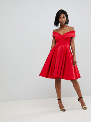 Club L Modern Bardot Scuba Skater Dress