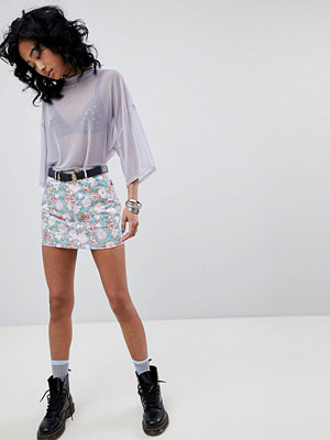 Motel Denim Mini Skirt In Vintage Floral Print