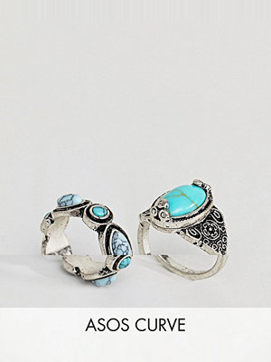 ASOS Curve Pack of 2 Faux Turquoise Stone Rings - Burnished silver
