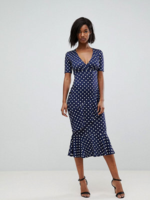 Club L Polka Dot Short Sleeve V Wrap Front Dress - Navy polka