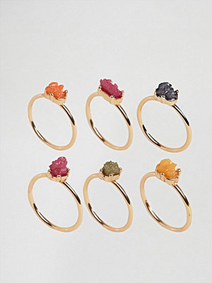 DesignB London Multi Coloured Crystal Stacking Rings