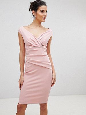 City Goddess Bardot Pleated Midi Dress - Pale pink