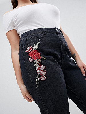 Liquor N Poker Plus Boyfriend Jean with Stepped Hem and Rose Embroidery - Washed black