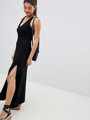 ASOS DESIGN maxi swing dress with double split and strappy neck