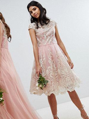 Chi Chi London Premium Lace Midi Prom Dress with Bardot Neck - Vintage rose/gold