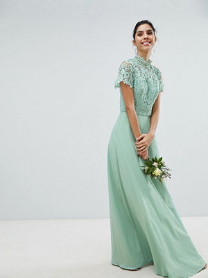 Chi Chi London 2 in 1 High Neck Maxi Dress with Crochet Lace - Green lily