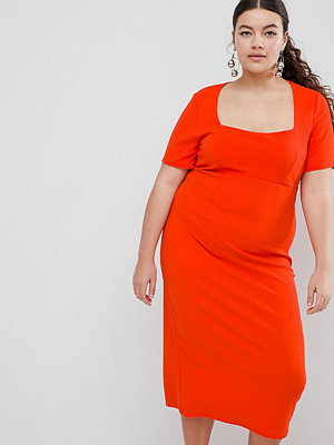 ASOS Curve ASOS DESIGN Curve square neck bodycon midi dress