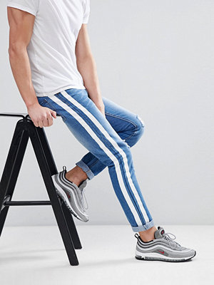 Jeans - boohooMAN Skinny Jeans With Stripe Print In Blue Wash
