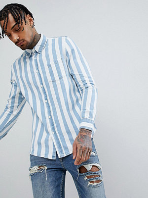 Bershka Stripe Denim Shirt In Blue and White