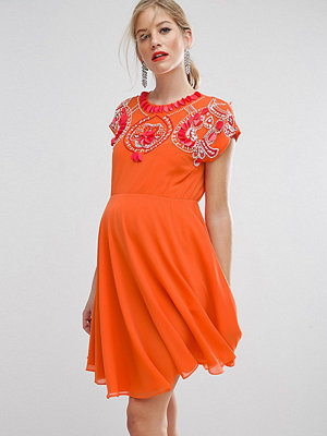 ASOS Maternity SALON Embellished Skater Dress - Coral