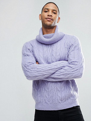 ASOS Cable Knit Mohair Wool Blend Jumper With Funnel Neck In Lilac - Lilac