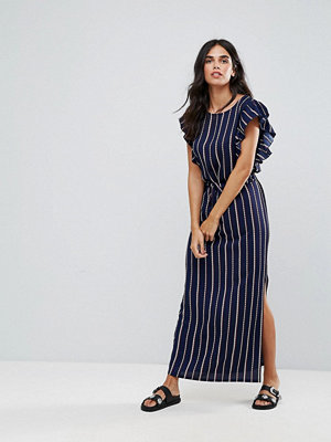 Liquorish Stripe Maxi Dress With Ruffle Sleeves - Navy stripe