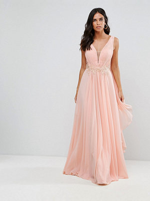 Forever Unique Cape Maxi Dress With Embellished Detail - Peach