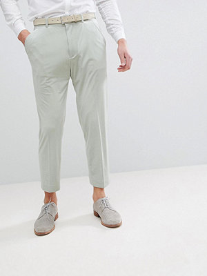 ASOS Wedding Tapered Smart Trousers In Sage Green Velvet
