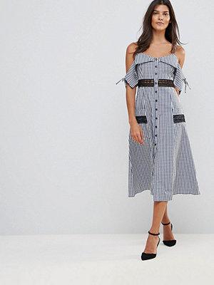Millie Mackintosh Covent Gingham Cold Shoulder Midi Dress