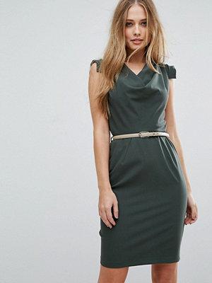 Closet London Cowl Front Pencil Dress With Belt - Khaki