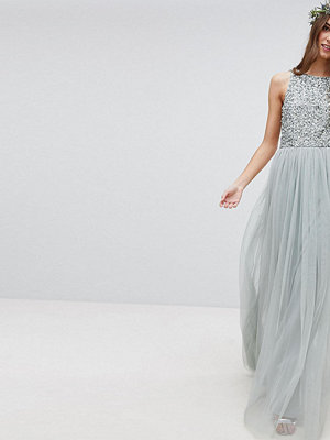 Maya Tall Sleeveless Sequin Bodice Tulle Detail Maxi Bridesmaid Dress With Cutout Back